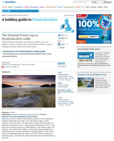 The National Trust's top 10 Pembrokeshire walks - Guardian July 2012