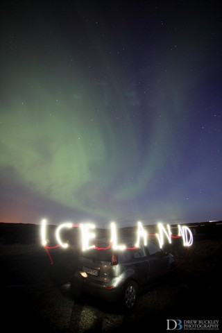 Iceland Aurora Borealis - Light Painting