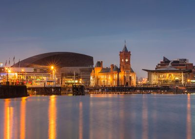 Cardiff Bay at night - Wales Millennium Centre, Pierhead buildin