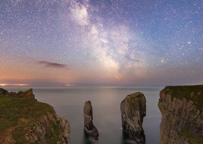 Elegug Stacks in Pembrokeshire, Wales captured at night with the